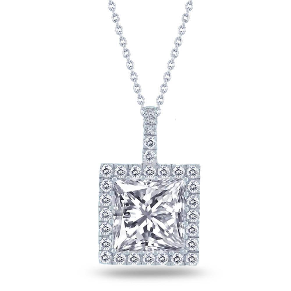Estella J Platinum Over Sterling Silver 3.37ct CZ Halo Square Pendant Necklace