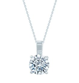 Estella J Platinum Over Sterling Silver 1.03ct CZ Classic Round Pendant Necklace