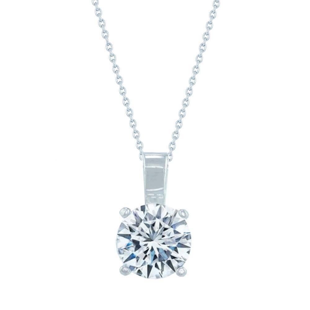 Estella J Platinum Over Sterling Silver 1.03ct CZ Classic Round Pendant Necklace