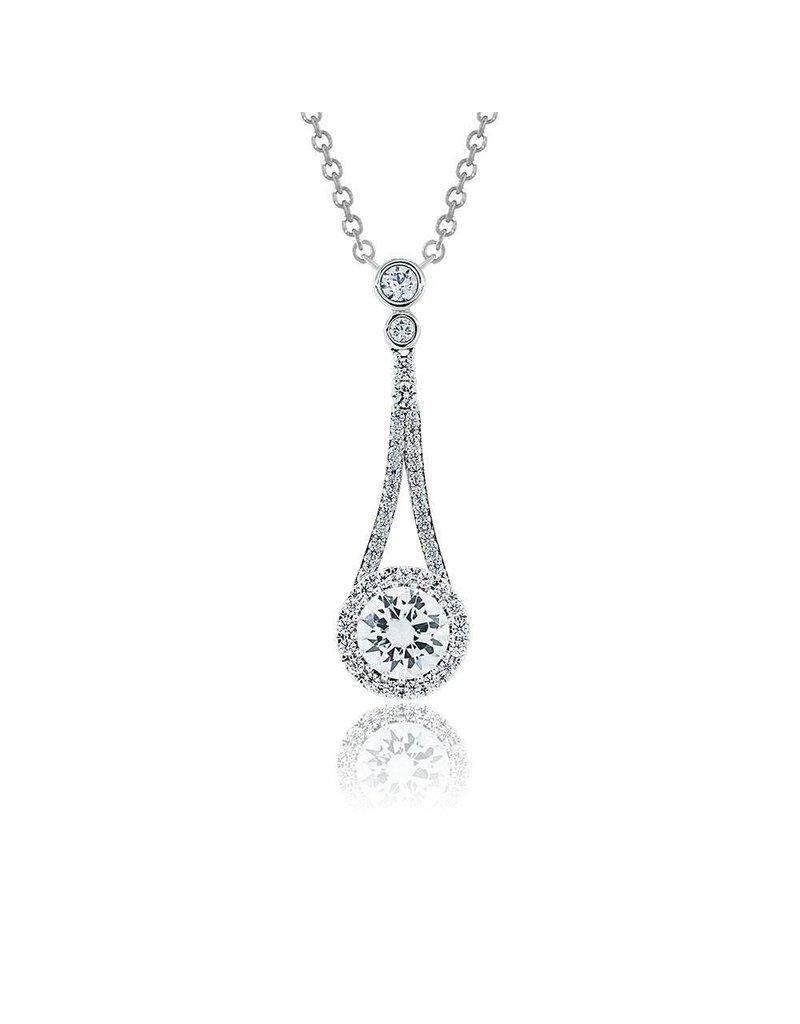Estella J Platinum Over Sterling Silver 1.72ct CZ Tear Drop Pendant Necklace