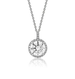 Estella J Platinum Over Sterling Silver 2.13ct CZ Halo Pendant Necklace