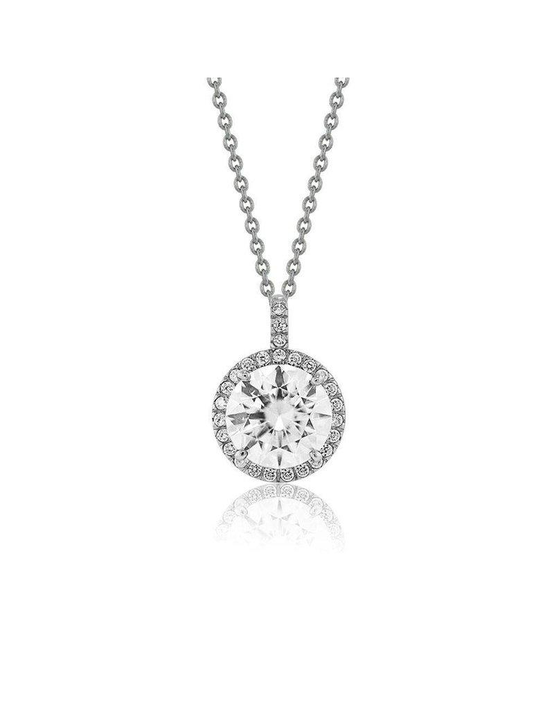 Estella J Platinum Over Sterling Silver 2.13ct CZ Halo Pendant Necklace