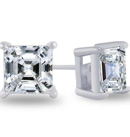 Estella J Platinum Over Sterling Silver 4.01ct CZ Asscher Studs