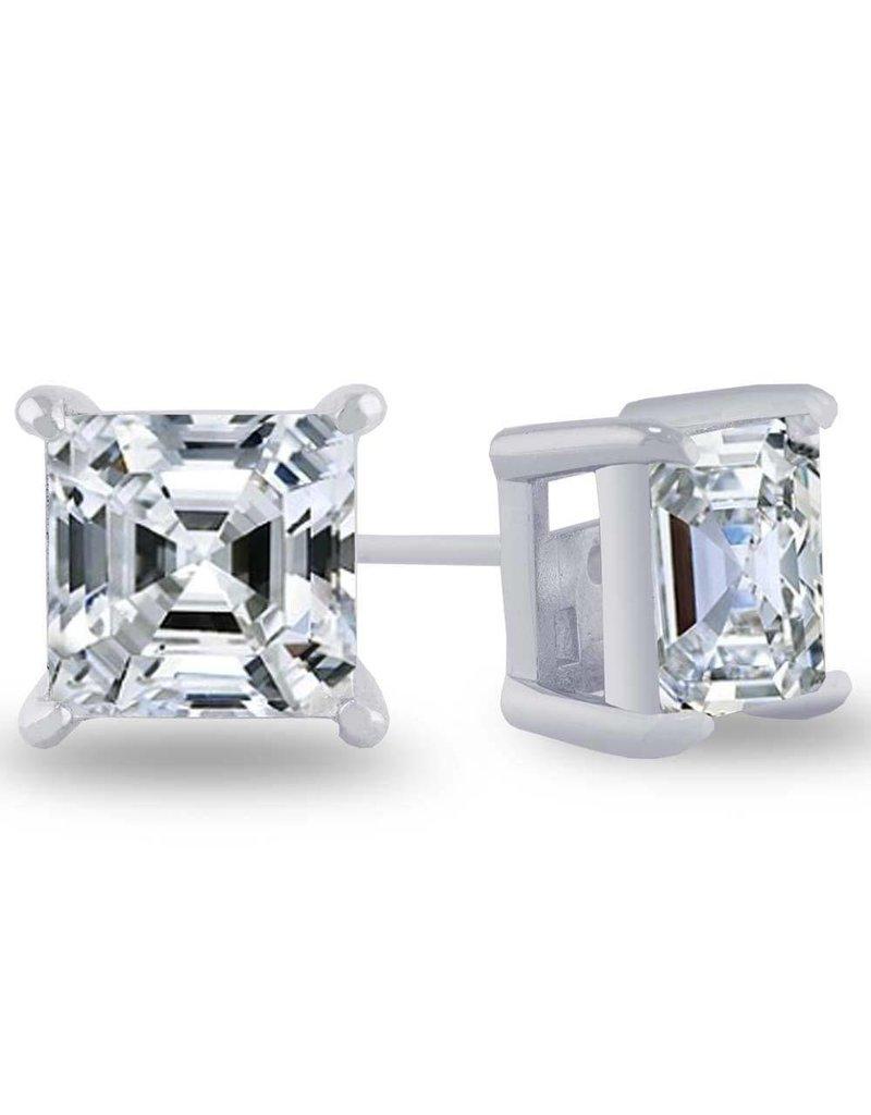 Estella J Platinum Over Sterling Silver 4.01ct CZ Asscher Studs