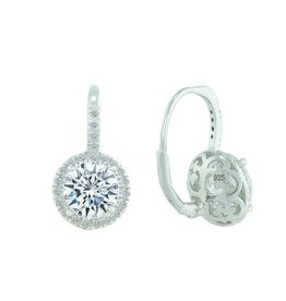 Estella J Platinum Over Sterling Silver 2.29ct CZ Round Leverback Pave Drop Earrings
