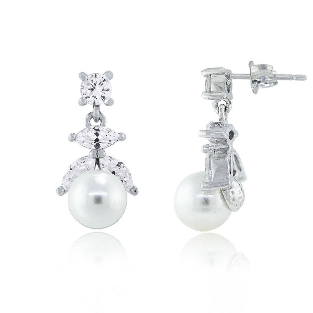 Estella J Platinum Over Sterling Silver 1.70ct CZ Swarovski Crystal Pearl Marquise Drop Earrings