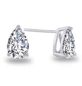 Estella J Platinum Over Sterling Silver 2.66ct CZ Pear Studs