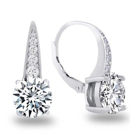 Estella J Platinum Over Sterling Silver 3.61ct CZ Round Leverback Drop Earrings
