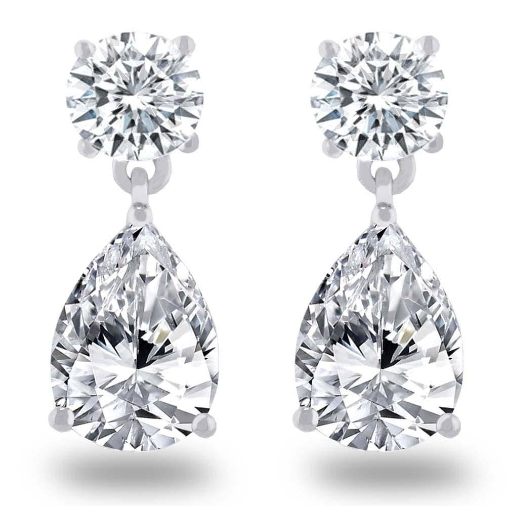 Estella J Platinum Over Sterling Silver 4.92ct CZ Round Pear Drop Earrings