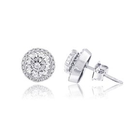 Estella J Platinum Over Sterling Silver 1.82ct CZ Halo Studs