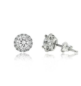 Estella J Platinum Over Sterling Silver 1.78ct CZ Halo Crown Studs