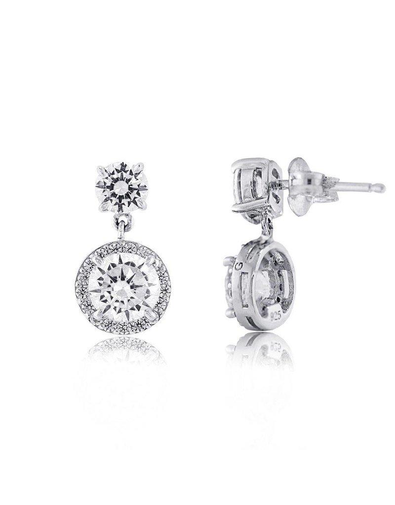 Estella J Platinum Over Sterling Silver 2.94ct CZ Halo Drop Earrings
