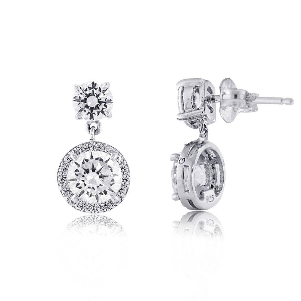 Estella J Platinum Over Sterling Silver 2.94ct CZ Halo Drop Earrings