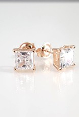 Estella J 18K Rose Gold Over Sterling Silver 1.51ct CZ Square Studs