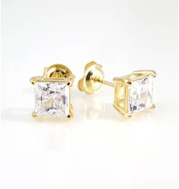 Estella J 18K Gold Over Sterling Silver 1.51ct CZ Square Studs