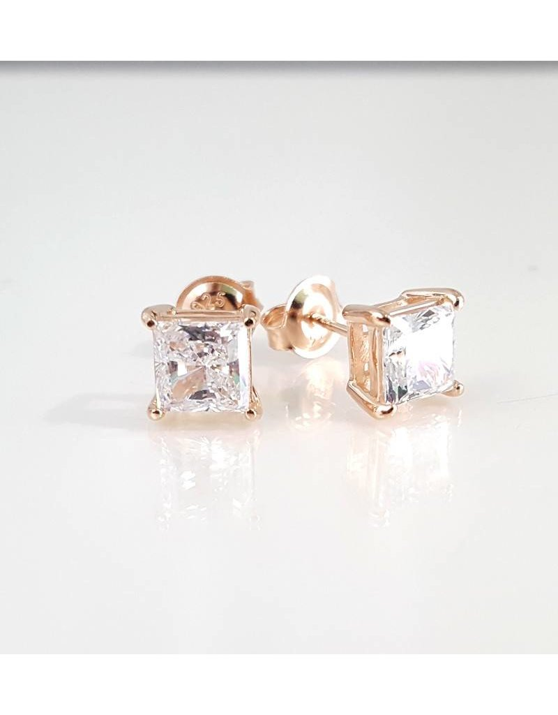 Estella J 18K Rose Gold Over Sterling Silver 2.51ct CZ Square Studs