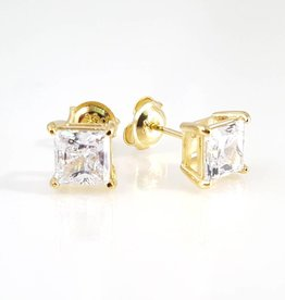 Estella J 18K Gold Over Sterling Silver 2.51ct CZ Square Studs