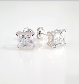 Estella J Platinum Over Sterling Silver 4.1ct CZ Studs