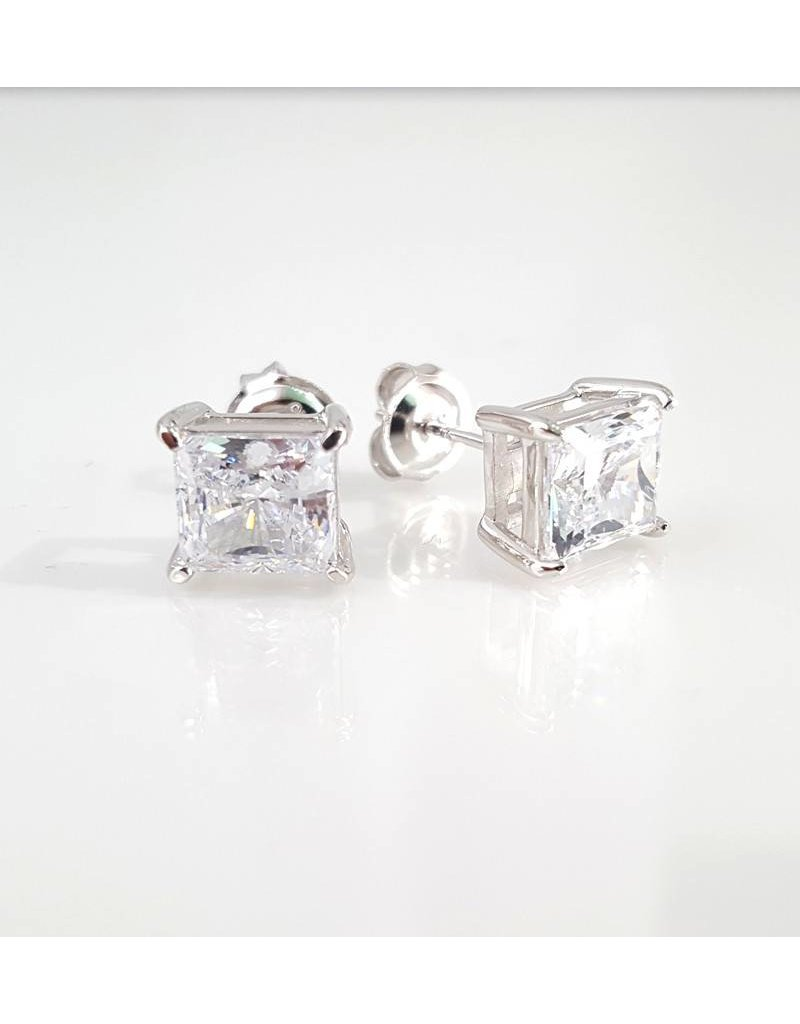 Estella J Platinum Over Sterling Silver 1.51ct CZ Square Studs
