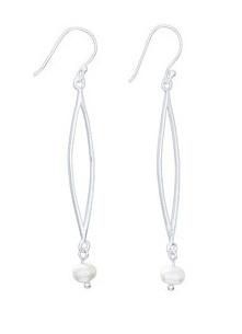 Steven + Clea Long Oval Pearl Drop Earring