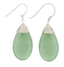 Steven + Clea Aventurine Silver Wrap Sterling Silver Earrings