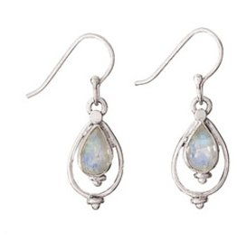 Steven + Clea Teardrop Rainbow Moonstone Sterling Silver Earrings