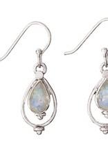 Steven + Clea Teardrop Rainbow Moonstone Sterling Silver Earrings
