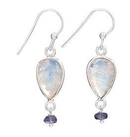 Steven + Clea Teardrop Rainbow Moontstone Iolite Earring