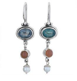 Steven + Clea Apatite Apricot Moonstone Pearl Earring