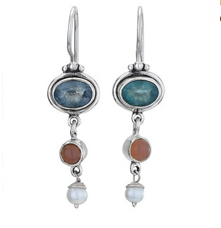 Steven + Clea Apatite Apricot Moonstone Pearl Earring