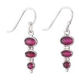 Steven + Clea 3 Stone Garnet Sterling Silver Earrings