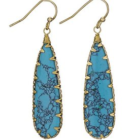 Steven + Clea Brass Wrapped Stab Turquoise Earring