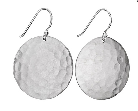 Steven + Clea Hammered Disc Sterling Silver Earring