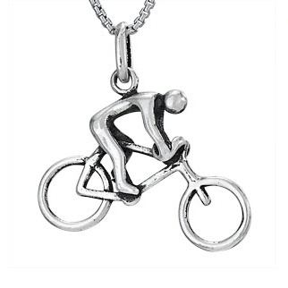 Steven + Clea Bicycle Guy Sterling Silver Pendant Necklace