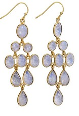 Steven + Clea 9 Rainbow Moonstone 18k Gold Plated Chandelier Earring