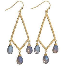Steven + Clea 3 Faceted Labradorite 18k Gold Plated Chandelier Earring