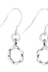 Steven + Clea Hexagonal Stamped Ring Sterling Silver Earring