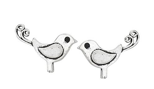 Steven + Clea Curly Tail Birds Sterling Silver Stud Earrings