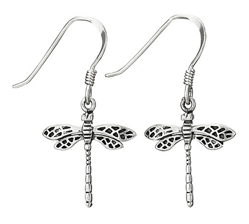 Steven + Clea Small Flying Dragonfly Sterling Silver Earring