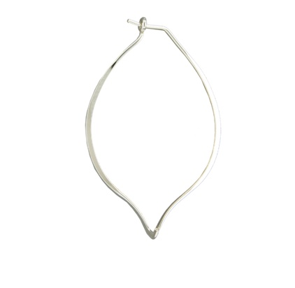 Mark Steel Leaf Hoop Earring Sterling Silver
