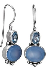 Steven + Clea Faceted Blue Topaz Chalcedony Sterling Silver Earring