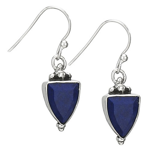 Steven + Clea Lapis Faceted Kite Sterling Silver Earrings