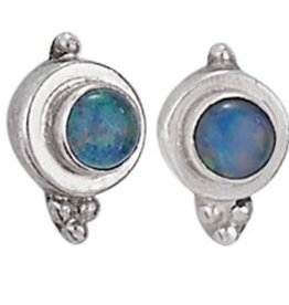 Steven + Clea Small Rainbow Moonstone Sterling Silver Earrings