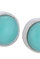 Steven + Clea Small Round Turquoise Sterling Silver Stud Earrings