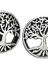 Steven + Clea Round Tree Sterling Silver Stud Earrings