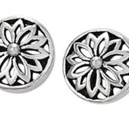 Steven + Clea Round Open Flower Sterling Silver Stud Earrings
