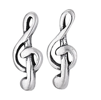 Steven + Clea G Clef Music Sterling Silver Stud Earrings