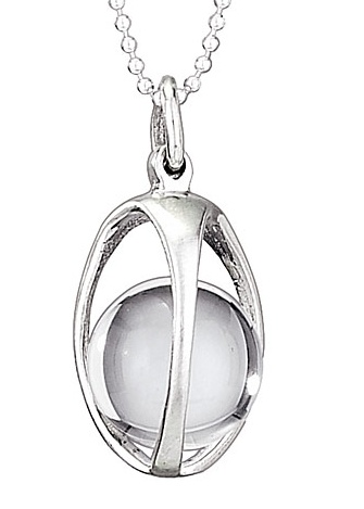 Steven + Clea Quartz Cage Crystal Ball Sterling Silver Pendant Necklace