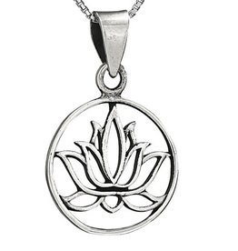 Steven + Clea Lotus Circle Sterling Silver Pendant Necklace