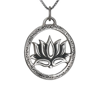 Steven + Clea Lotus Round Sterling Silver Pendant Necklace